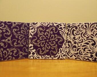 COASTERS - Purple Silver Vintage Coaster Set