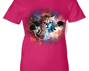 Funny Floating cat in space Woman's T-Shirt