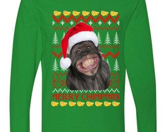Merry Chimpmas Monkey Ugly Christmas Sweater Long Sleeve Shirt