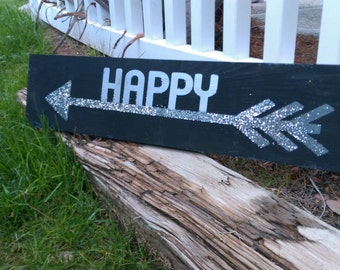 Happy arrow painted wood sign