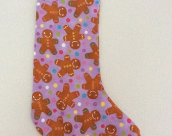 Purple Gingerbread Christmas Stocking