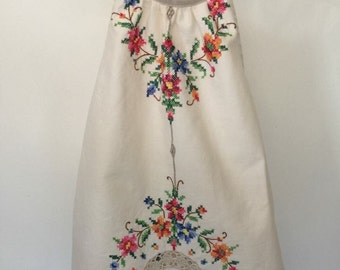 OOAK Vintage Embroidered Cotton Darling Dress - Baby Girl - sizes 0-2