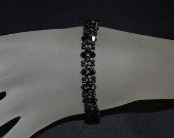 Bracelet end Swarovski crystal hematite 2x