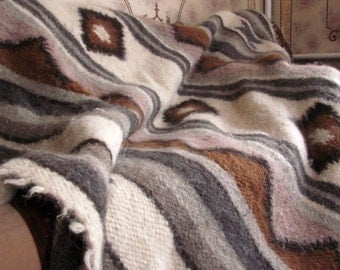 100% WOOL Organic Blanket Bedcover Rug /Woolen coverlet/Warm/Throw blanket/Chemical Free/ Bio processing/Handwoven Wool/Full Queen King