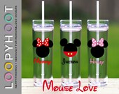 Personalized 16 oz Skinny Acrylic Tumbler--MOUSE LOVE I