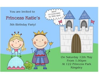 Personalised Prince and Princess Birthday Party Invitation Printable Personalised Birthday Invite Childrens Birthday Invitation