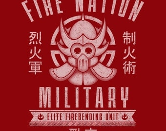 "KIDS ""Fire Nation Military"" Avatar The Last Airbender T-shirt/Snapsuit"