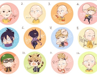 One Punch Man Badges/Buttons/Pins [Whole Set]