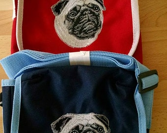 Embroidered Pug Shoulder Bag