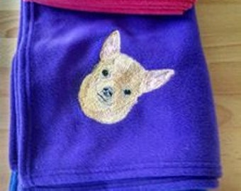 Embroidered Chihuahua Fleece Blanket