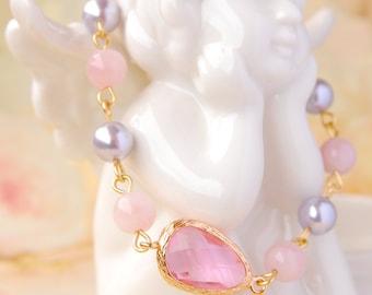 Rose Quartz Bracelet Gold Pink Stone Bracelet Rose Quartz Jewelry Gift For Mother Love Bracelet Swarovski Lavender Pearl Bracelet