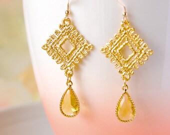 Gold Lace Earrings Sunflower Earrings Yellow Drop Earrings Sunflower Wedding Jewelry Gift For Her Wife Gift 14k Gold Filled Earrings