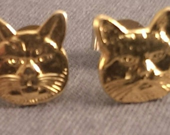 Cat face earrings, gold toned cat earrings