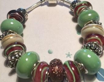 Green and Burgundy European Style Bracelet