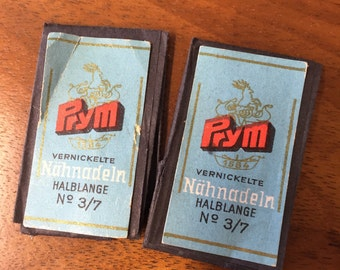 Set of 2 Nadelbriefchen vintage Prym nickel-plated sewing needles No. half long 3/7