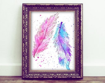 Watercolor - Delicate Feathers - Vintage decor - Wall decor - Card - Digital Art Print - 8,5 X 11, 5 X 7 and 3 x 5