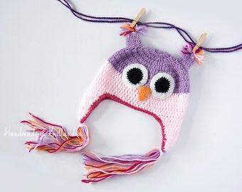 Handmade Crochet Owl Hat, Baby Animal Hat