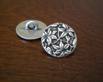 """3 - Three Flowers Metal Buttons with Shank  5/8"""" (16mm)"""