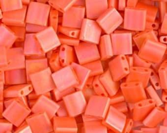 Tila Bead- Matte Op Orange AB  #406FR  Miyuki Tila Beads - 10 grams