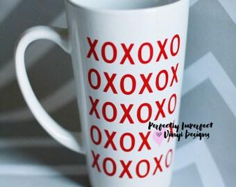 Personalized Coffee Mug//XOXO Coffee Mug//Valentine's Day Gift//Personalized Latte Mug//Tall Coffee Mug/Gift for Wife//Kids Gift