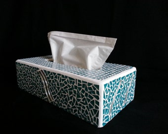 handkerchief box mosaic turquoise color