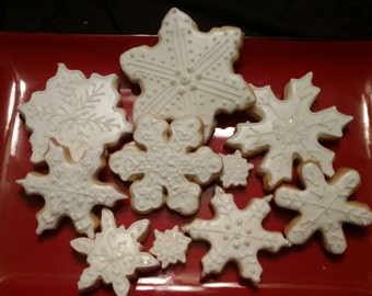 White Sparkling Snowflakes - One Dozen Large (minis are included for fun!)