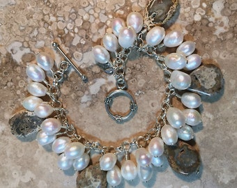 Petrified Coral and Freshwater Pearl Bracelet
