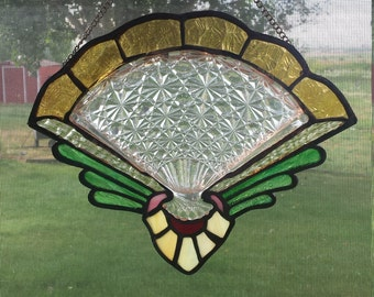 Sun Catcher /  Stained Glass and Crystal Fan