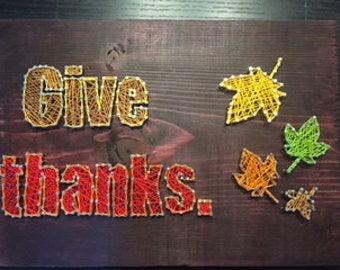 String Art Autumn Holiday Give Thanks Leaves