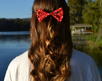 Red Spotted Hair Bow