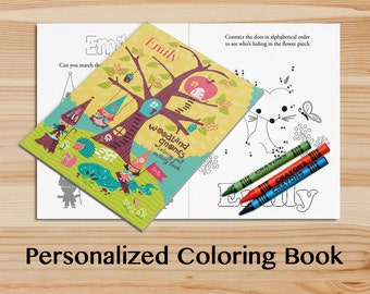 Personalized Gnome Activity Book A Custom Coloring With Your Childs Name Kids