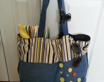 Beach in recycled fabric bag