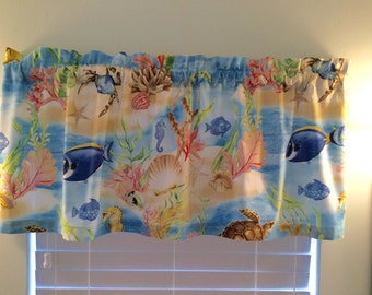 Window Valance-Sealife Curtains-Coastal Curtains-Beach curtains-Tropical Curtains-Lake Curtains-Boat Curtains-Kitchen Curtains
