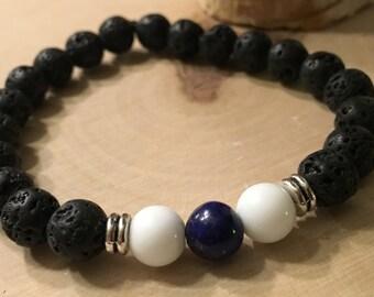 Stackable Alabaster, Lapis & Lava Stone Gemstone Bead Bracelet