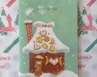 Vintage Hallmark Gingerbread House Christmas Card unused