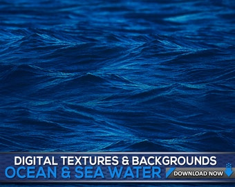 60 Sea Water Textures & Backgrounds - Ocean And Sea Water Photoshop Overlays, Textures And Patterns, Digital Background, Digital Backdrop