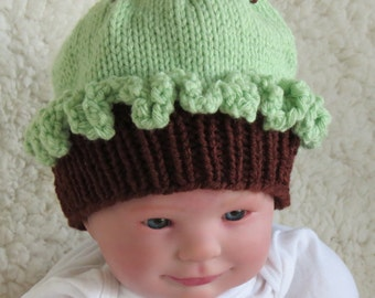 Mint Chocolate Cupcake Hat Knit Baby Newborn Girl Christmas Gift Photo Prop