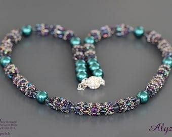 Collar medium green and purple wire wired Swarovski Elements pearls beaded superduo pearls round ball rhinestone clasp