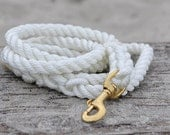 White Hand-Spliced Rope Leash with Brass Clip