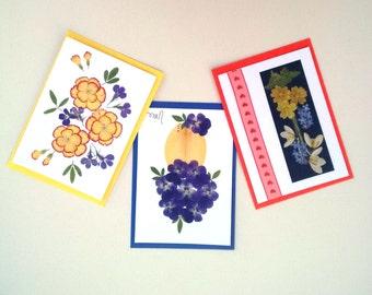 UK Pressed Flower Cards - Set of 3
