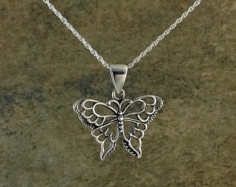 Butterfly Necklace~ Sterling Silver Butterfly Pendant~Uniquely Designed Butterfly Necklace~Silver Butterfly Jewelry