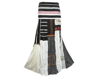 Boho Hippie Patchwork Long Wrap Skirt (M0597)