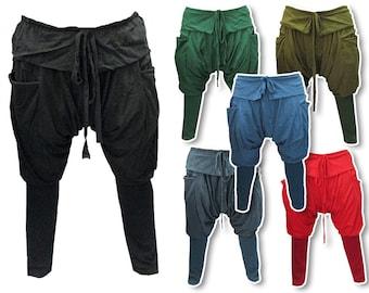 Boho Hippie Baggy Drop-Crotch Cotton Cargo Pants (PC19X)