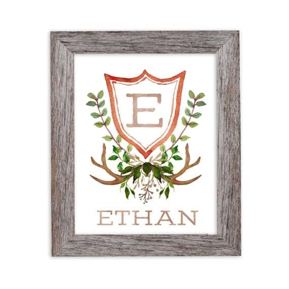 Woodland Nursery, Boy Monogram, Personalized Baby Gift, Nursery Wall Art, Nursery Decor, Monogram, Nursery Initial, Rustic Nursery, Boy