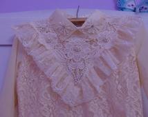 Lace Blouse, Lolita Blouse, Boho Blouse, Victorian Blouse, Ivory Lace Blouse, Victorian costume, Steampunk Blouse