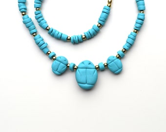 Ancient Egyptian Style Three Scarab Polymer Clay Necklace