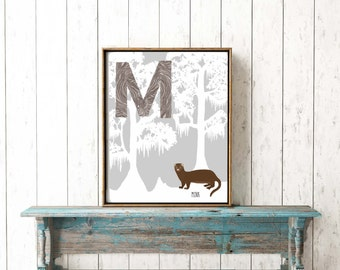 Bayou Alphabet Critters. Letter M. Mink. Digital download. Children's art print. Louisiana Southern animals.