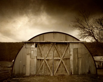 Sepia Old Barn Photography, Moody Landscape, Rustic Brown Wall Art, Country Decor