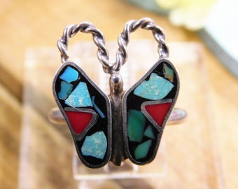 Colorful Butterfly Mosaic Inlay Ring