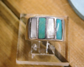 Mens Turquoise and Mother of Pearl Sterling Silver